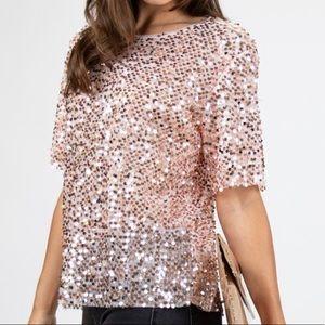 Pink Sequins Off Shoulder Top